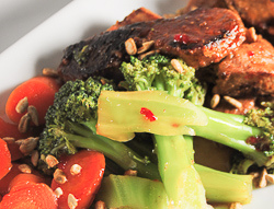Pork Tenderloin, Broccoli and Carrots in a Sweet and Spicy Oyster Ginger Sauce